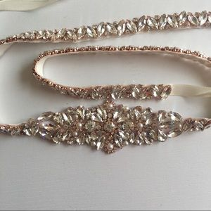 Accessories - Rose Gold Beaded Rhinestone Dress Belt Sash
